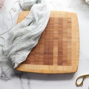 Stacked bamboo cutting board medium size rounded